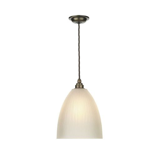Duxford Glass Pendant Antique Brass complete with Satin Glass, DUX0175 (7-10 day Delivery)